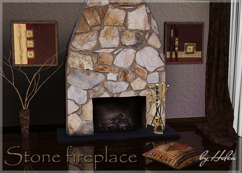 Stone fireplace by Helen