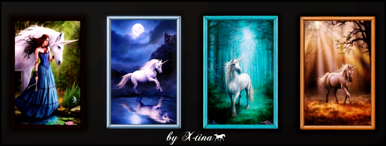 Unicorns Painting No. 7 - Set of 4 by X-tina