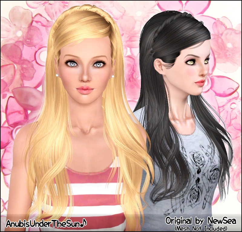NewSea Monochrome Female Hairstyle ~ Retextured for teen-to-elder by Anubis