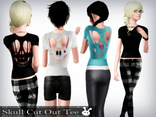 Skull Cut Out Tee by XxNikkibooxX