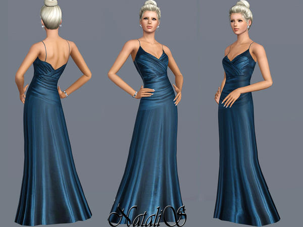 Teal Silk Satin Gown FA-YA by NataliS