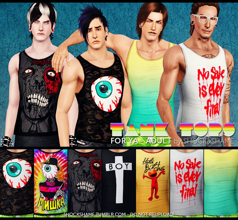 Tank tops for your male by Shock & Shame