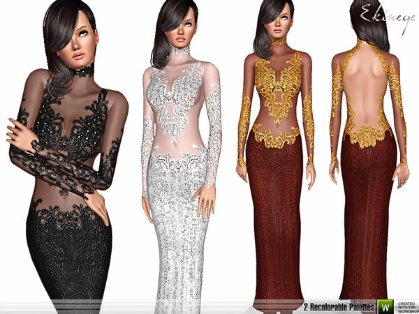 Sequined Lace Dress by ekinege