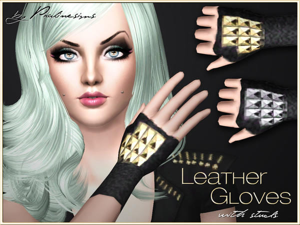 Leather Gloves with Studs by Pralinesims