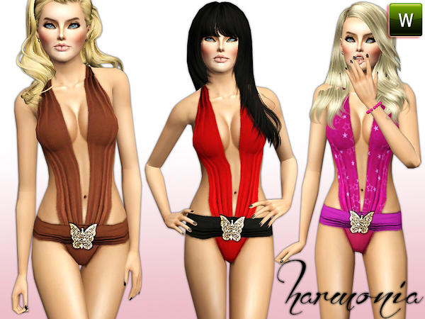 Deep Plunge Butterfly Monokini Bathing Suit by Harmonia09