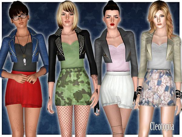 Rebellious ~ Studded Leather Jacket with fit skirt outfit by Cleotopia