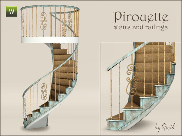 Pirouette spiral stairs and railings by Gosik