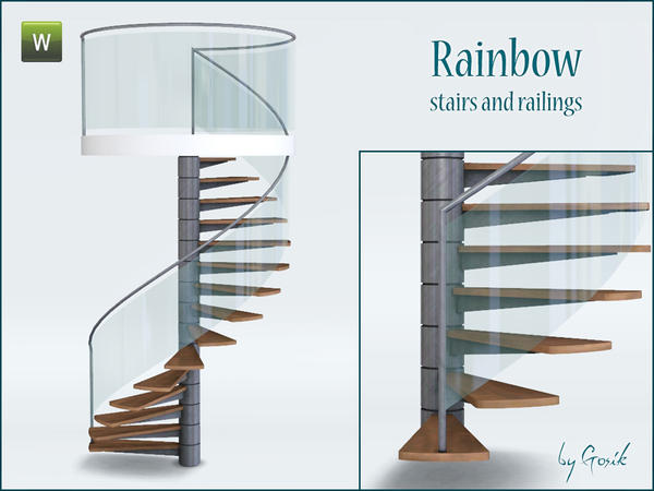 Rainbow spiral stairs and railings by Gosik
