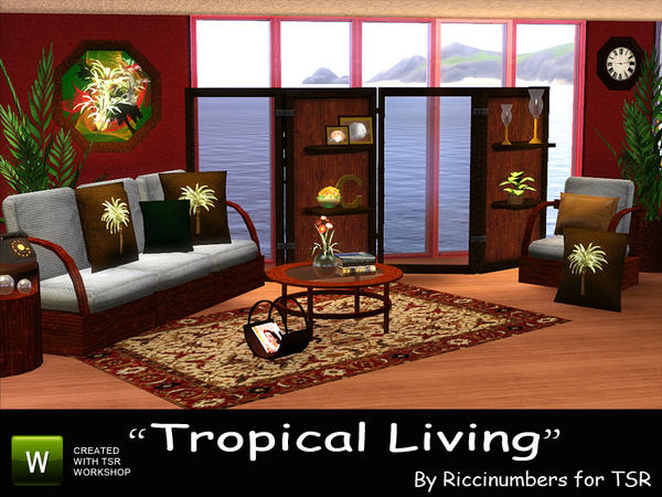 Tropical Living Room by Riccinumbers
