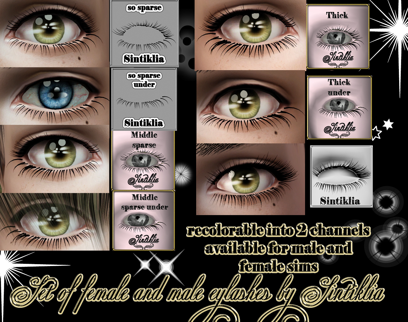 Male and female set of 3D eyelashes by Sintiklia