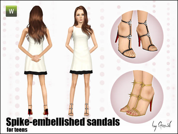 Spike-embellished sandals by Gosik