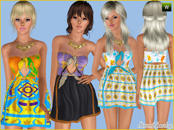248 - Colorful short dress by sims2fanbg