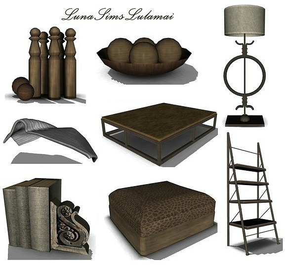 2 Tables, Lamps, Shelves and 4 Decos by Luna