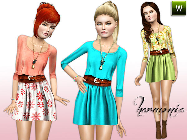 TEEN ~ Belted 3/4 Short Sleeves Flared Dress by Harmonia