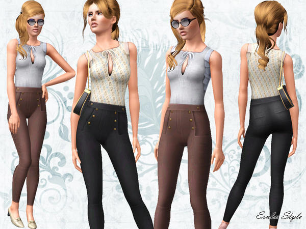 High Waisted Trousers with Bow Tied Top by Ernhn