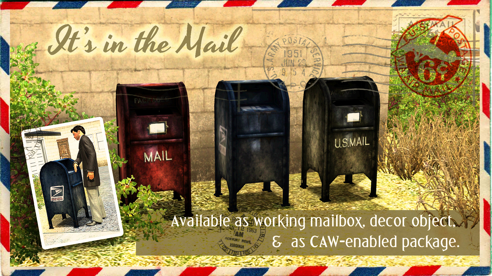 Working, Decor and CAW Street Mailbox by Cloudwalker Sims