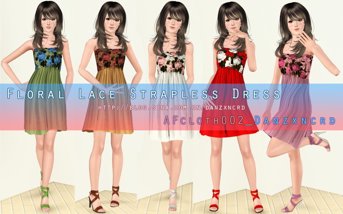 Floral Lace Strapless Dress by danzxncrd