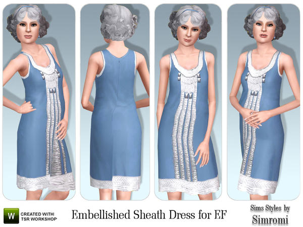 Embellished Sheath Dress for Elder Female by simromi