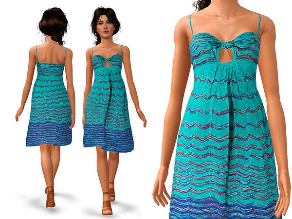 Ocean/blue-multi zigzag knit dress by SimDetails