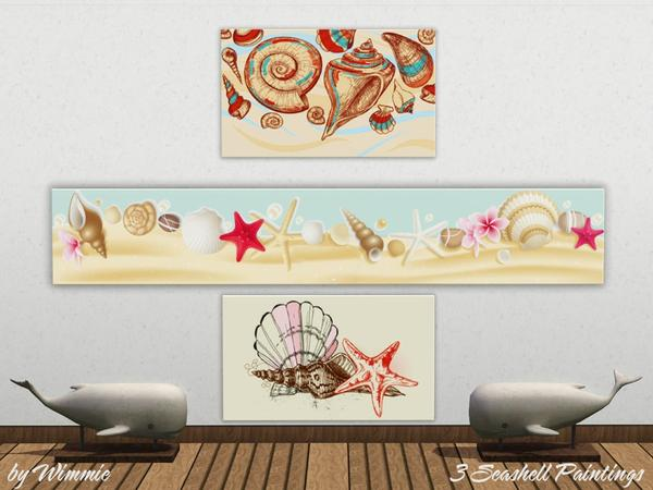 Set of Seashell Paintings by Wimmie