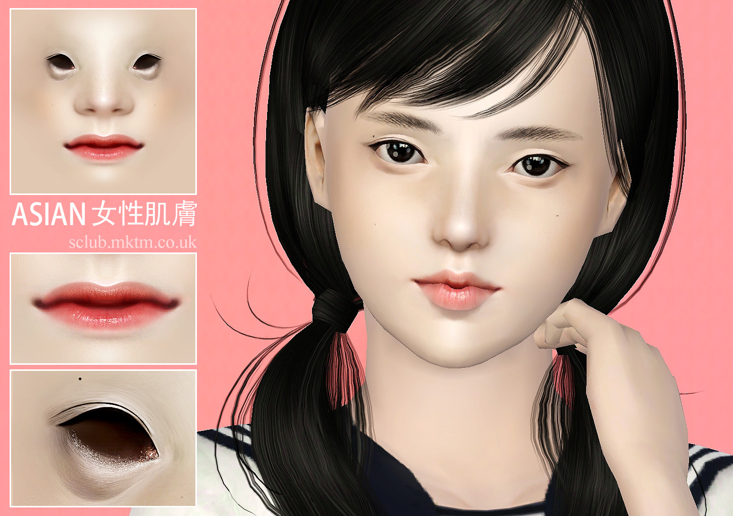 TS3 Nondefault Female Asian Skin by S-Club
