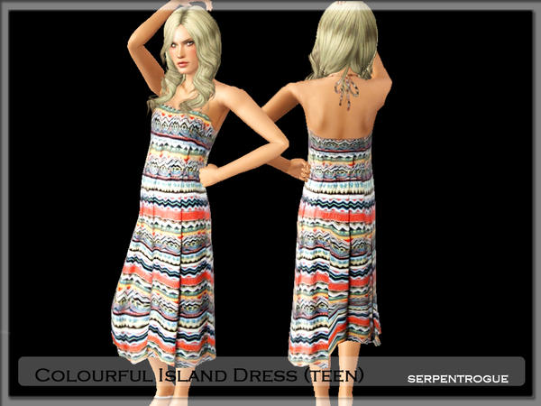 Colourful Island Dress (teen) by Serpentrogue