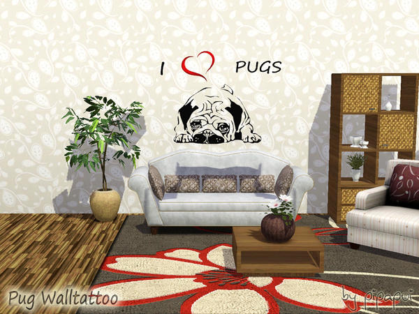 Pug Walltattoo by pipapoi