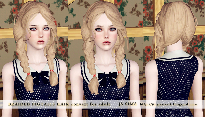 Braided Pigtails (Convert For Teen, YA, and Adult) by JS Sims 3