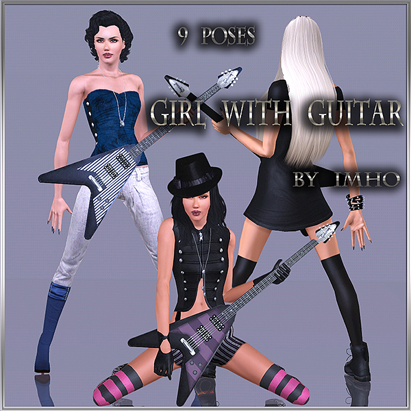9 Poses - Girl with guitar by IMHO