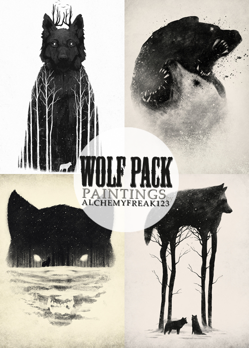 Wolf Pack Paintings by Alchemyfreak123