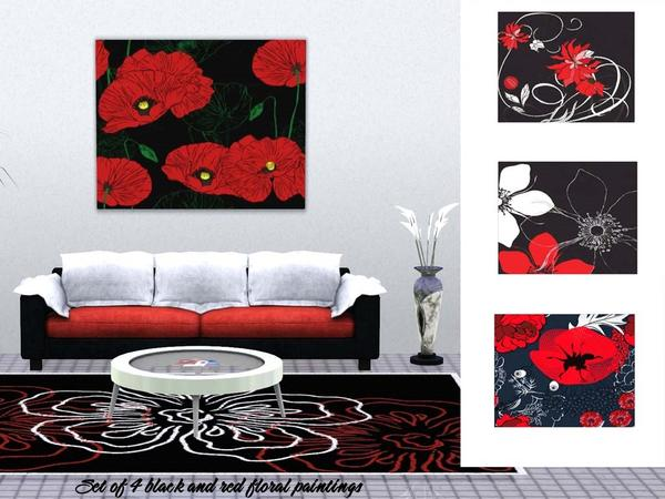 Set of 4 floral paintings by Wimmie
