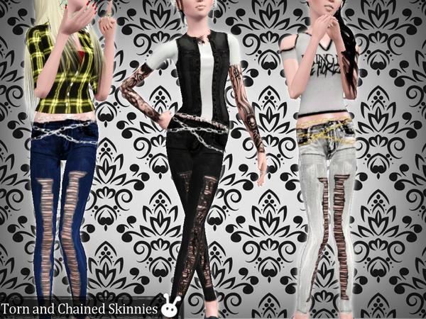 Torn and Chained Skinnies by XxNikkibooxX