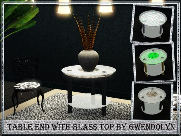 Table end with glass top_by Gwendolyn