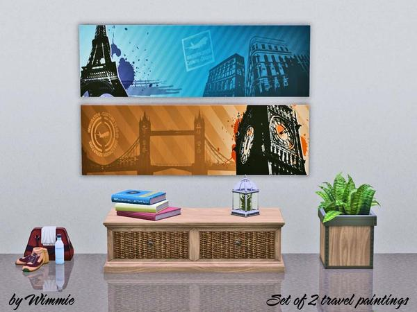 Set of 2 travel paintings by Wimmie