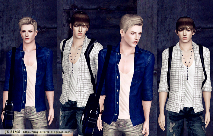 V Neck Tank Top With Shirt by JS Sims 3