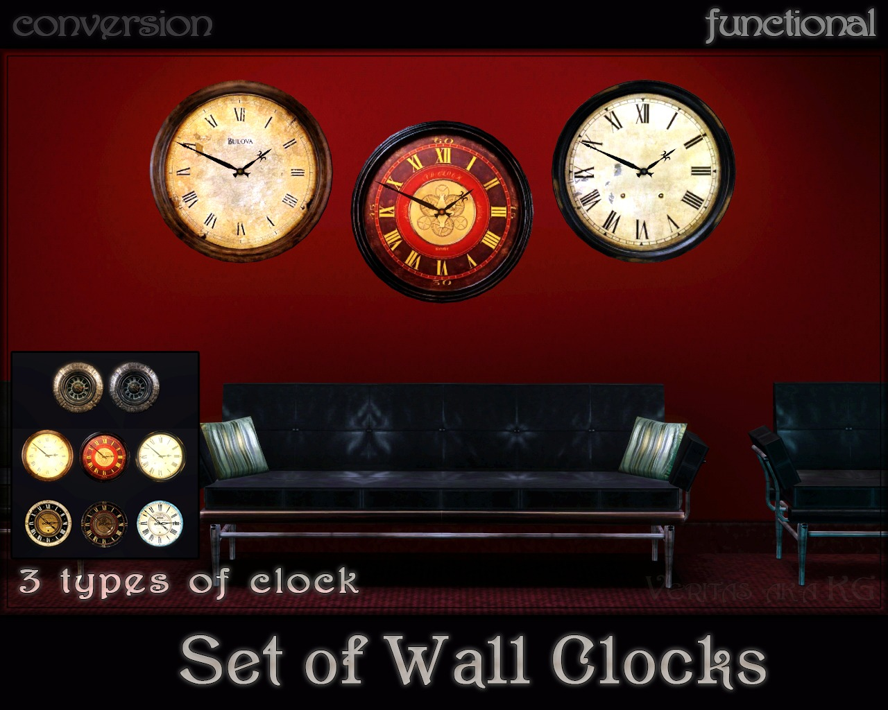 Adele Set of Wall Clocks by Veritas