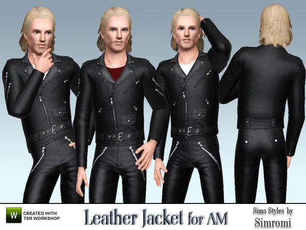 Bikers Leather Jacket Pants Set for AM by simromi