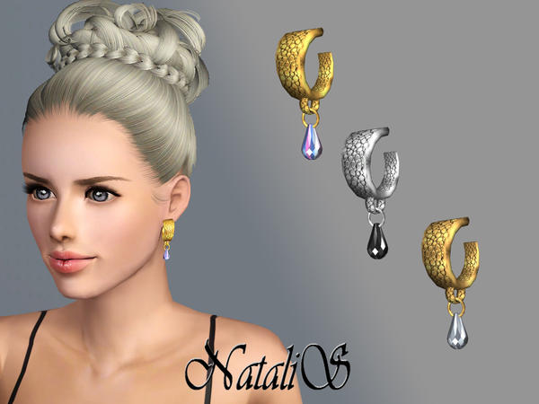 Hammered hoop earrings with crystals FA-FE by NataliS