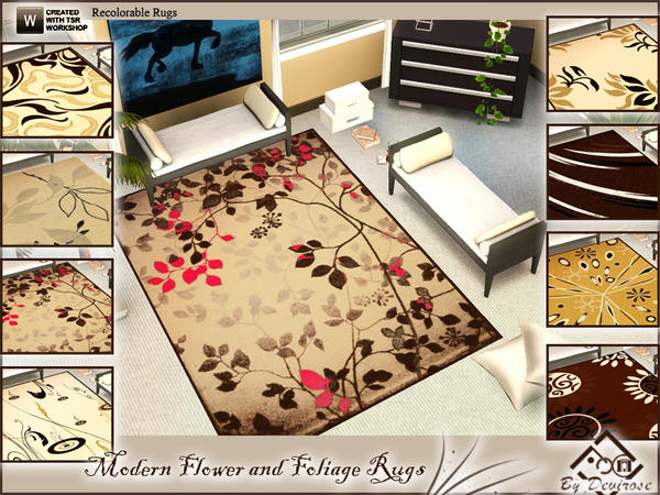 Modern Flower and Foliage Rugs by Devirose