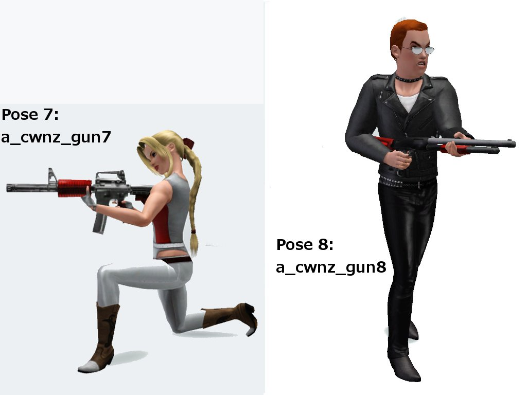A collection of 12 poses using Gun by CloudWalkerNZ