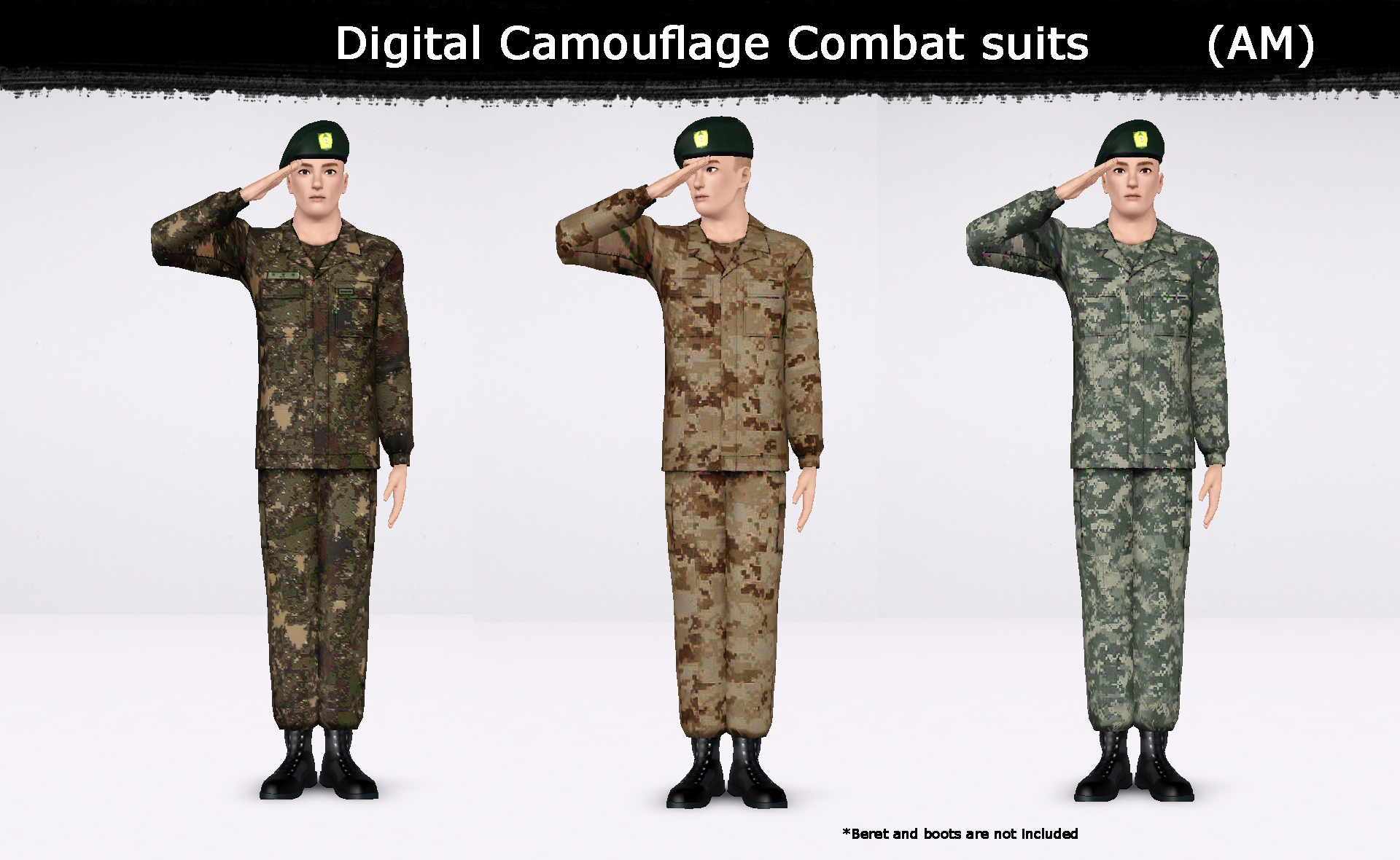 Digital Camouflage Combat Suits, Hat and Pattern by HL7402