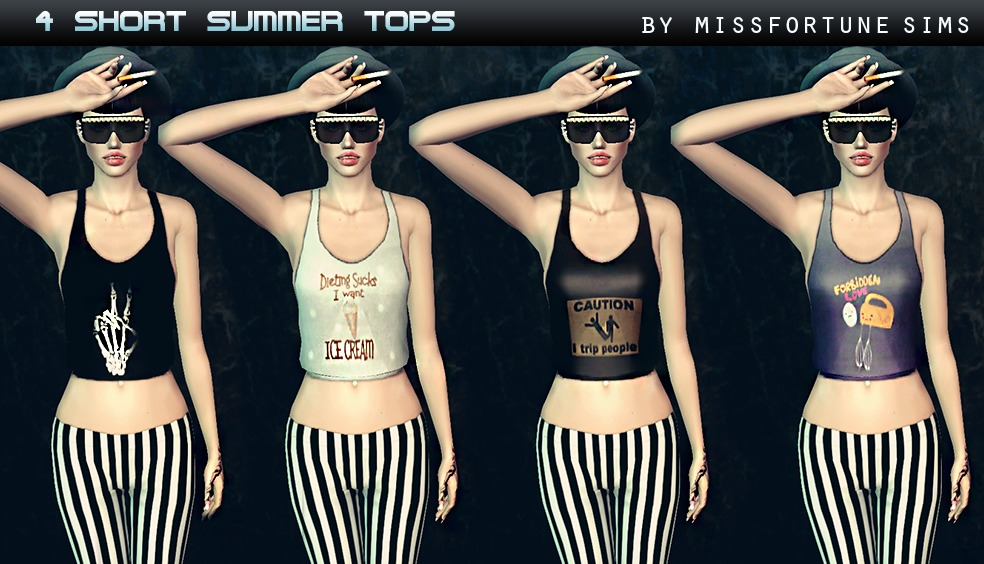 4 Short Summer Tops by Missfortune Sims