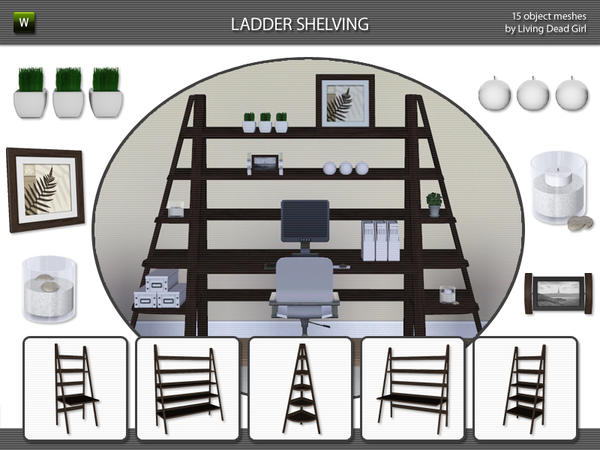 Ladder Shelving by Living Dead Girl