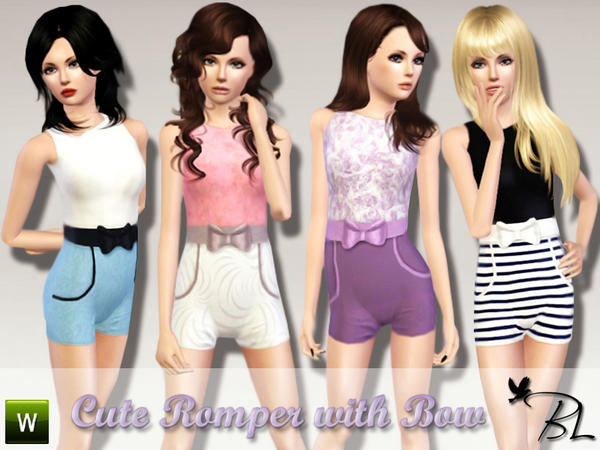Teen Cute Romper with Bow by Black Lily