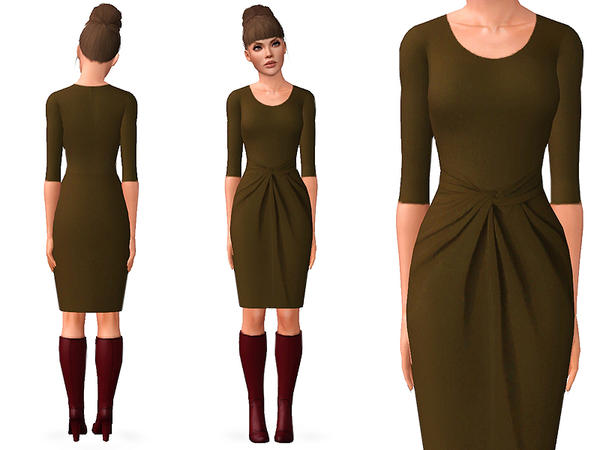 OLIVE TWIST FRONT DRESS by SimDetails
