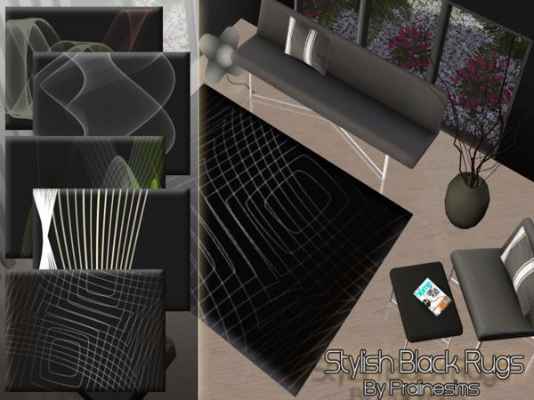 Stylish Black Rugs by Pralinesims