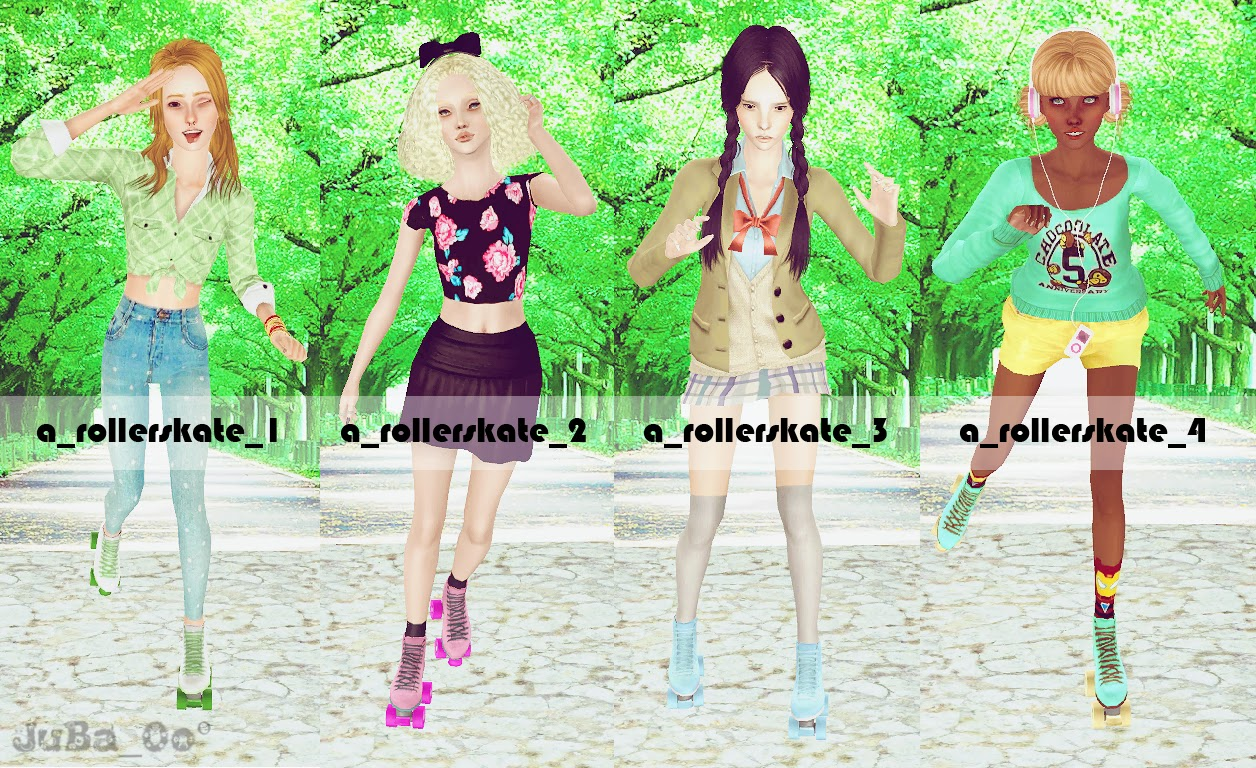Rollerskating Team Pose Pack and rollerskates by JuBa_0o