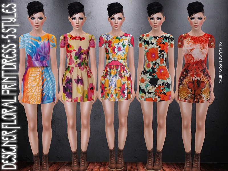 Designer Floral Print Dress by Alexandra_Sine