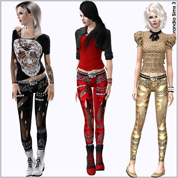 Studded Leather Pants with Skull Belt by Lore