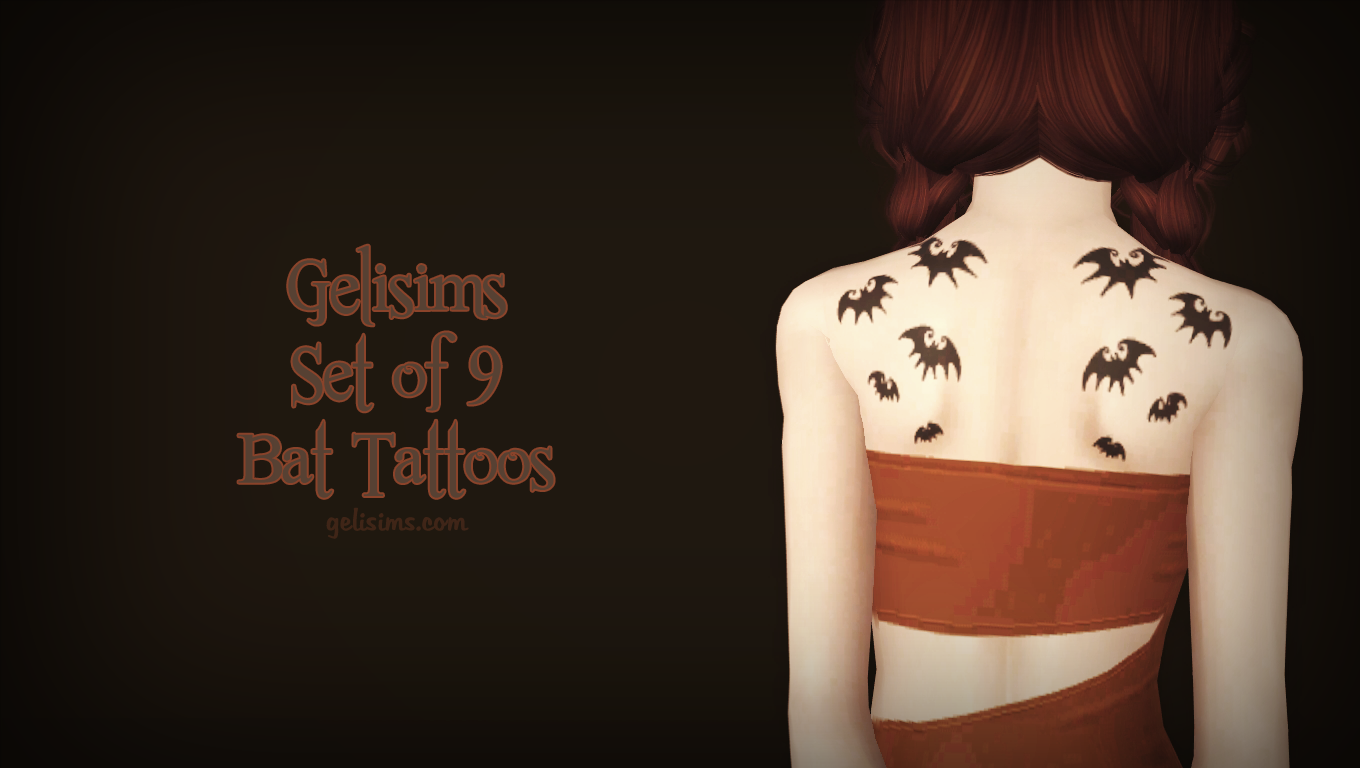 Set of 9 Bat Tattoos by Gelisims
